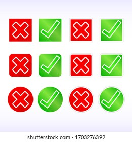 Check mark line icons set. Correct and wrong labels on red and green button.