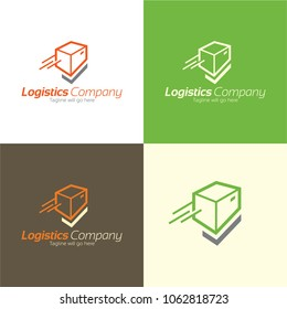 Check Mark Logistics Logo and Icon. Vector Illustration. Playful logo featuring a parcel and a check mark that forms its lower part.