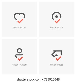 Check mark logo set. Heart, place pointer, person and house or home with tick or checkmark symbol - love, health, position, realty, employment and estate agency icons.
