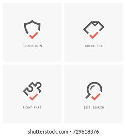 Check mark logo set. Shield, document or file, magnifier or loupe and puzzle piece with tick or checkmark symbol - protection and defense, agreement, search and jigsaw part icons.