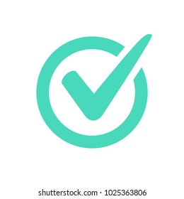 Check mark logo vector or icon. Tick symbol in green color illustration. Accept okey symbol for approvement or cheklist design. Choice minimalistic pictogram