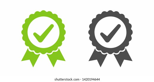Check mark logo vector or icon vector illustration concept image icon in green and gray color.