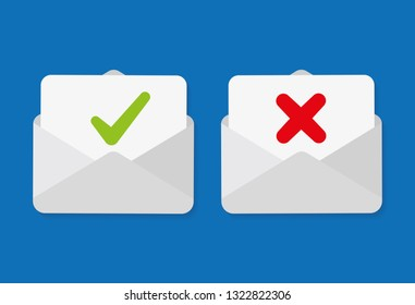 Check mark in mail envelope. Confirm and rejection email.