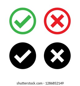 Check mark OK and X icons ,Tick and cross signs, symbols YES and NO button for vote, decision Vector green red and black color illustration isolated on white background.