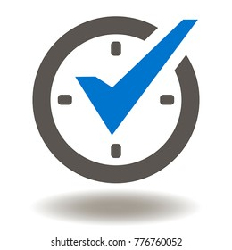 Check Mark on Clock Icon Vector. Real Best Time Protection Management Illustration. Stopwatch Logo. Compliance Symbol.