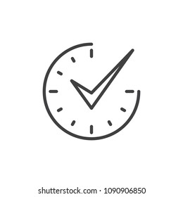 Check mark on clock outline icon. linear style sign for mobile concept and web design. Real time protection simple line vector icon. Symbol, logo illustration. Pixel perfect vector graphics
