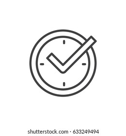 Check mark on clock, real time protection outline icon, line vector sign, linear style pictogram isolated on white. Symbol, logo illustration. Editable stroke. Pixel perfect