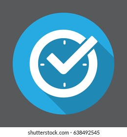 Check mark on clock, real time protection flat icon. Round colorful button, circular vector sign with long shadow effect. Flat style design
