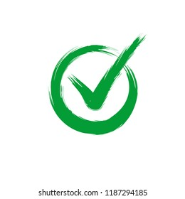 Check mark on white background. Tick icon grunge style, vector illustration. Green ok symbol.