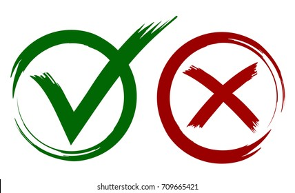 Check Mark Painted with Brush in Red and Green Colors. Circle Shape Grunge Style Design. Vector Set