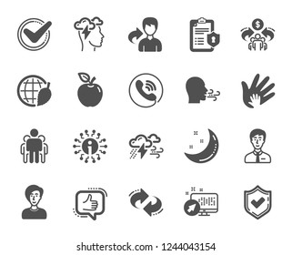 Check mark, Sharing economy and Mindfulness stress, Breath people icons. Privacy Policy, Social Responsibility, Breath icons. Bad weather, Tick check mark, sharing refer, stress. Vector