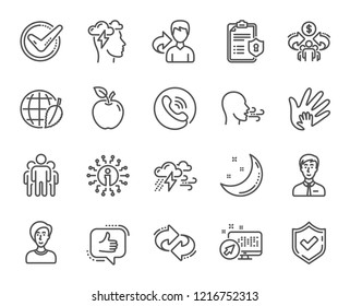 Check mark, Sharing economy, Refer and Mindfulness stress, Breathing people line icons. Privacy Policy, Social Responsibility and Breath icons. Bad weather, Like, sharing refer. Privacy policy vector