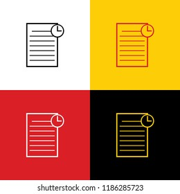 Check mark sign illustration. Vector. Icons of german flag on corresponding colors as background.