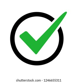 Check mark sign isolated on white background. Black and green colors. Vector illustration