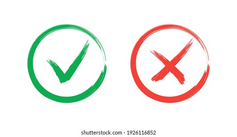 Check mark - stock vector. Tick and cross brush signs. Hand drawn Grunge Green checkmark OK and red X, Painted with Brush symbols YES and NO button for vote in circle.