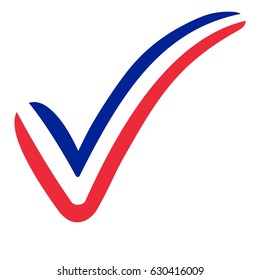 check mark style France flag symbol elections, voting and approval, vector concept check mark France tick