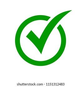 Check mark symbol. Green check mark icon. Check list button icon