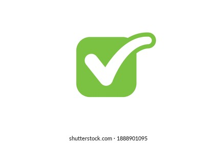 Check mark tick green icon. Symbol of approvel. Positive sign.