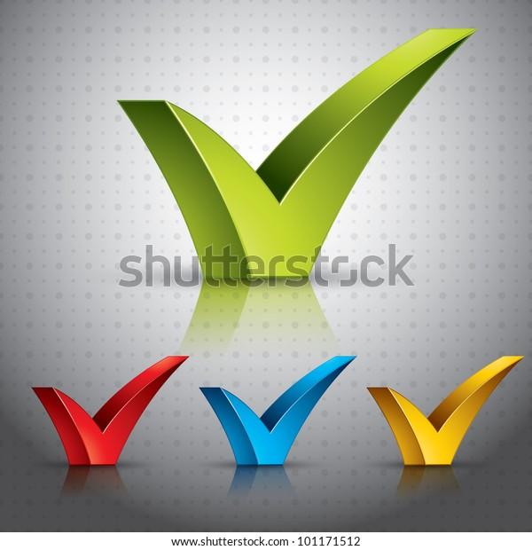 Check Mark Tick Transparent Shadows Reflections Stock Vector