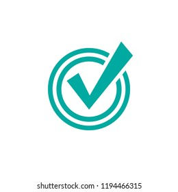 Check Mark. Valid seal icon. blue crazy tick in circle. Flat OK sticker icon. Isolated on white. Accept button. Good for web and software interfaces. Vector illustration.