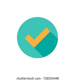 Check Mark. Valid Seal icon. Orange squared tick with shadow in blue circle. Flat OK sticker icon. Isolated on white. Accept button. Good for web and software interfaces. Vector illustration.