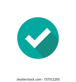 Check Mark. Valid Seal icon. white squared tick with shadow in blue circle. Flat OK sticker icon. Isolated on white. Accept button. Good for web and software interfaces. Vector illustration.