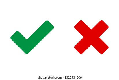 Check mark vector icon. Green tick and red cross icons isolated on white background. Flat check mark sign and red cross for web site, app, label, logo and X sign. Vector illustration