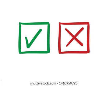 Check mark vector icons. Green tick and Red X cross. Hand drawn checkmark doodles.
