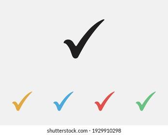 Check mark vector icons. Tick symbol Checklist icon symbol. Filled icon. Set of colorful flat design