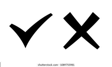 Check Mark and X Mark handmade form vector icons