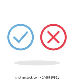 Check mark and X icon in trendy flat style. Yes No symbol for your web site design, logo, app, UI Vector EPS 10. - Vector
