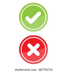 Check mark and X mark Right and Wrong. Vector illustration business icon concept.