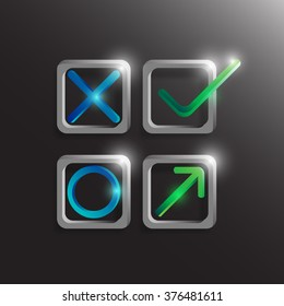 Check mark, yes and no symbol with light. Vector illustration
