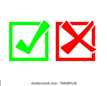 Check marks icon in boxes. Right and wrong icon isolated on white background. EPS10 vector illustration for web, banner, template, icon, sign, symbol, infographic. Yes and no.