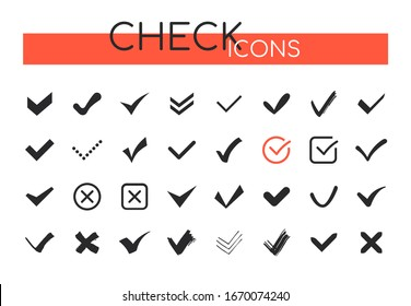 Check marks icons - set of web elements on white background. Different black hand-drawn buttons showing task performance, approval, agreement. Stop, forbidden signs. Voting, exam, correct answer theme