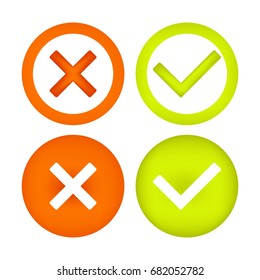 Check marks icons. Vector colorful 3d icons, isolated on white background. Eps 10