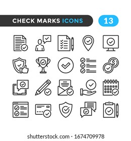 Check marks line icons. Outline symbols collection. Premium quality. Vector thin line icons set