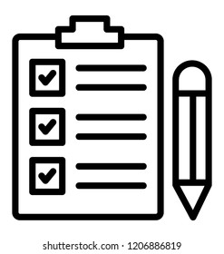 Check marks list in clipboard with pencil as checklist icon