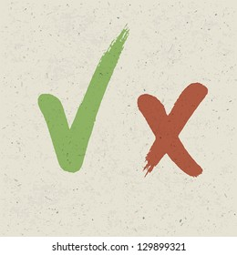 Check marks on paper texture. Vector, EPS10