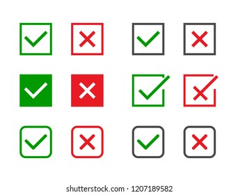 Check marks set. Green tick and red cross in different shapes. YES or NO accept and decline symbol. Vector icons for internet buttons or web page. Vector illustration.
