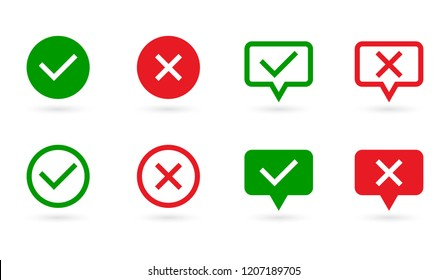 Check marks set. Green tick and red cross in speech bubble and circle shape. YES or NO symbol. Concept of checklist, reject or accept. Vector icons for internet buttons or web page. Vector