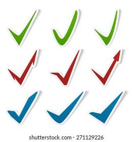 Check marks symbols set, vector eps10 illustration
