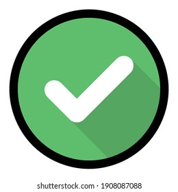 Check marks, Tick marks, Accepted, Approved, Yes, Correct, Ok, Right Choices, Task Completion, Voting. - vector mark symbols in green. Black stroke and shadow design. Isolated icon.