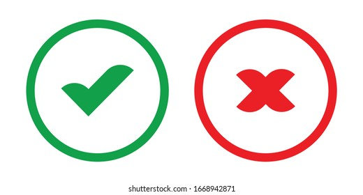 Check marks. Tick and cross icons. Yes and No symbols. Vector illustration.