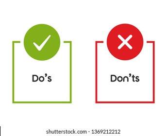 Check Marks UI/UX Flat Design Do's and Dont's Icon. Modern Red and Green Checkmark Logotype Graphic Design Isolated on White. Concept of Poor or Good Test Result or Performance Review - Vector