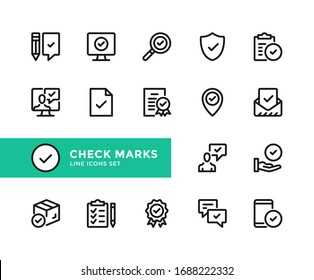 Check marks vector line icons. Simple set of outline symbols, graphic design elements. Line icons