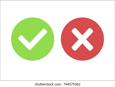 Check marks yes and no. Vector illustration round icons in a flat style isolated on white background.