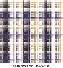 Check pattern background. Seamless tartan plaid texture in dark purple, yellow gold, and white for jacket, coat, skirt, bag, underwear, or other modern textile design.