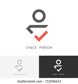 Check person logo - red tick mark and man or human symbol. Employment agency, recruitment and job hunt vector icon.