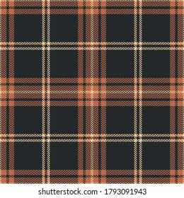 Check plaid pattern in brown, orange, beige. Seamless dark herringbone tartan plaid graphic for flannel shirt or other modern autumn winter textile print.